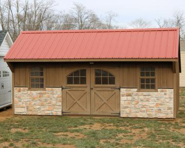Pine Creek 12x20 Providence Carriage House with Mushroom stained walls and trim, and an Red metal roof