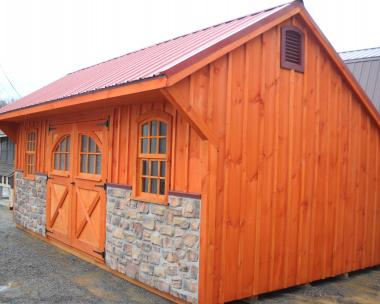 12x20 Providence Carriage House with Hand Laid Stone Facade